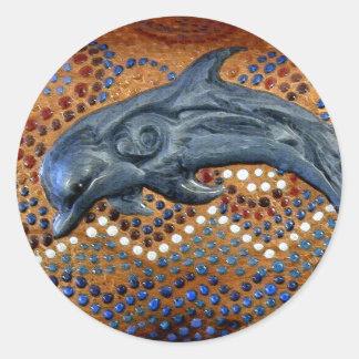 Australian Aboriginal-style Dolphin Art Classic Round Sticker