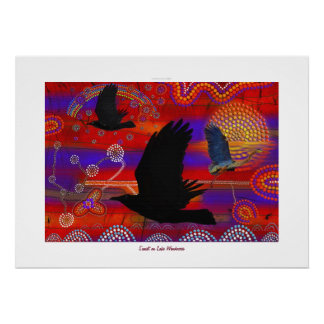 Australian Aboriginal-themed Sunset on a Lake Poster