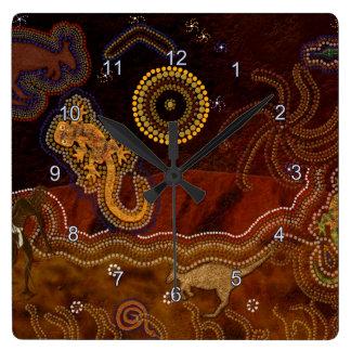Australian Aborigine Dreamtime & Animals Square Wall Clock