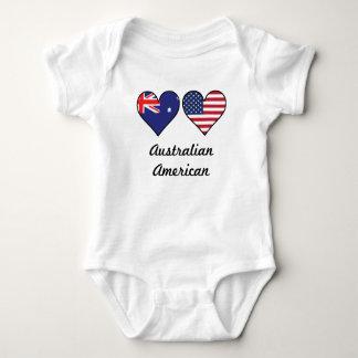 Australian American Flag Hearts Baby Bodysuit