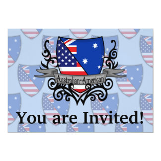 Australian-American Shield Flag 13 Cm X 18 Cm Invitation Card