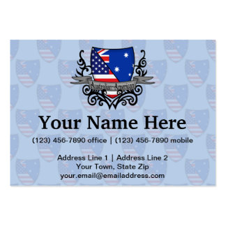 Australian-American Shield Flag Large Business Cards (Pack Of 100)