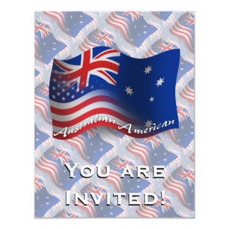 Australian-American Waving Flag 11 Cm X 14 Cm Invitation Card