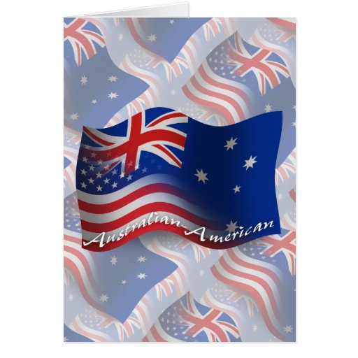 Australian-American Waving Flag Greeting Cards