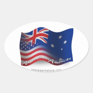 Australian-American Waving Flag Oval Sticker