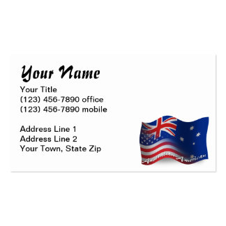 Australian-American Waving Flag Pack Of Standard Business Cards