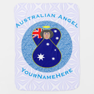 Australian Angel on White and Blue Squiggly Square Baby Blanket