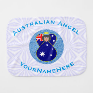 Australian Angel on White and Blue Squiggly Square Burp Cloths