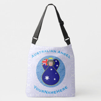 Australian Angel on White and Blue Squiggly Square Crossbody Bag