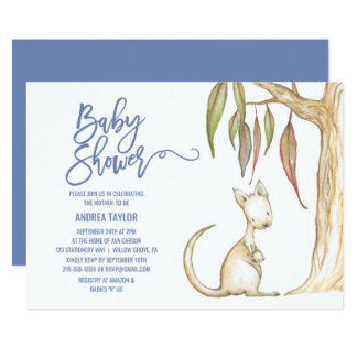 Australian Animals | Kangaroo & Joey Baby Shower Card