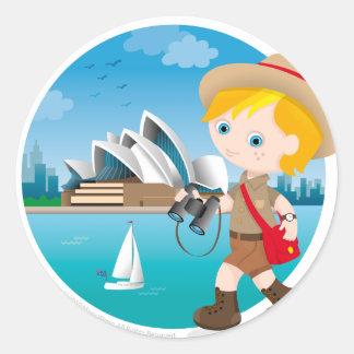 Australian boy round stickers