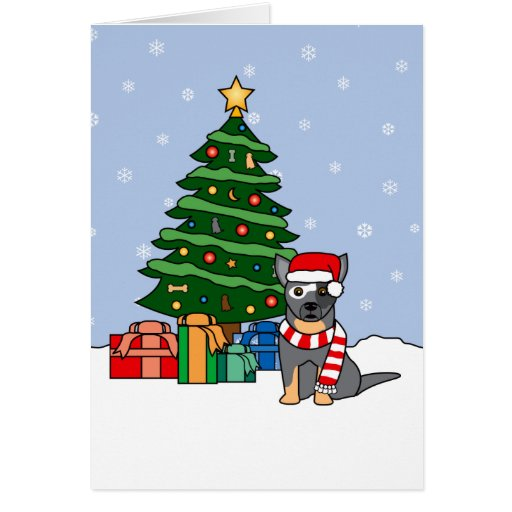 Australian Cattle Dog and Christmas Tree Greeting Cards