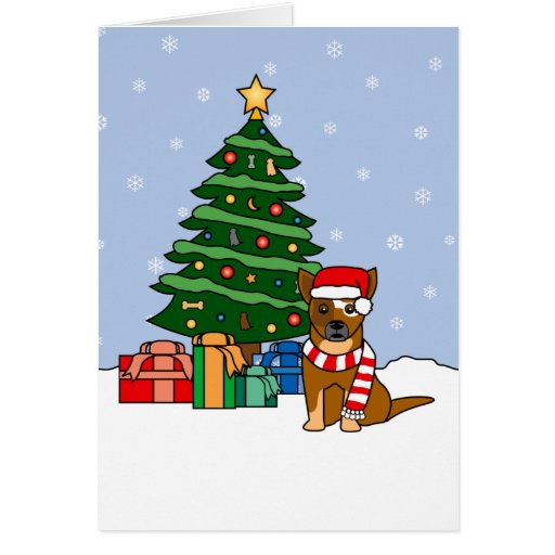 Australian Cattle Dog and Christmas Tree Cards