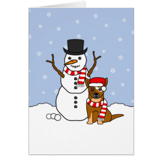 Australian Cattle Dog and Snowman Greeting Card