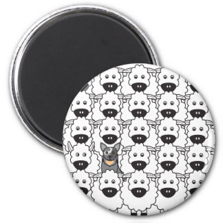 Australian Cattle Dog in the Sheep 6 Cm Round Magnet