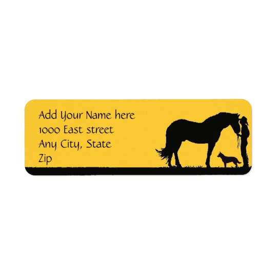 Australian Cattle Dog Sunset Silhouette Return Address Label