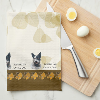 Australian Cattle Dog Tan Leaves Dishtowel Tea Towel