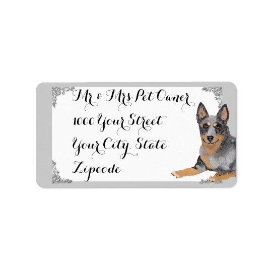 Australian Cattle Dog w/white and silver design Address Label