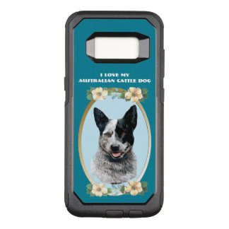 Australian Cattledog on Teal Floral OtterBox Commuter Samsung Galaxy S8 Case