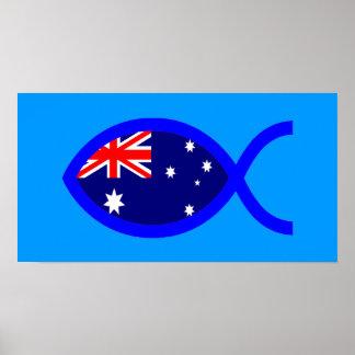 Australian ChrIstian Fish Symbol Flag Posters