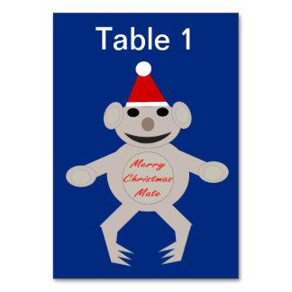 Australian Christmas Koala Bear Custom Tablecard Table Cards