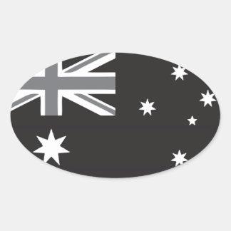 Australian Flag Black and White Oval Sticker