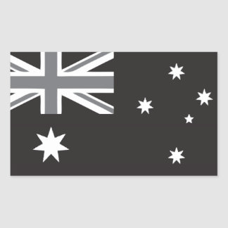 Australian Flag Black and White Rectangular Sticker