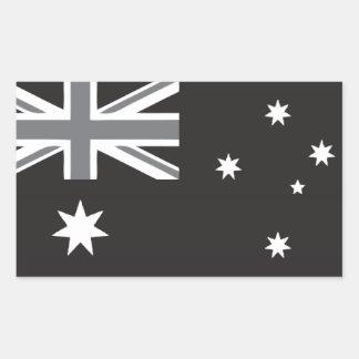 Australian Flag Black and White Rectangular Sticker
