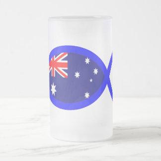 Australian Flag Christian Fish Symbol Frosted Glass Mug
