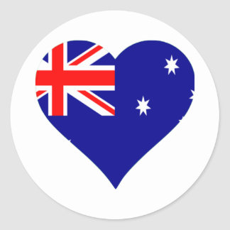 Australian Flag Heart Round Sticker