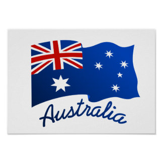Australian flag in the wind poster