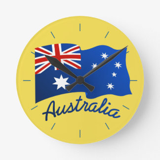 Australian flag in the wind round clock