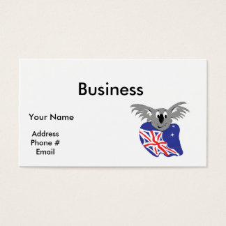 australian flag koala bear design business card