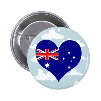 Australian Flag on a cloudy background 6 Cm Round Badge