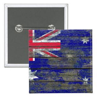 Australian Flag on Rough Wood Boards Effect 15 Cm Square Badge