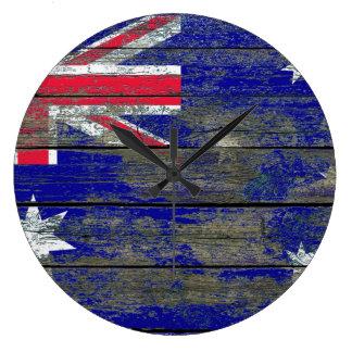 Australian Flag on Rough Wood Boards Effect Clocks