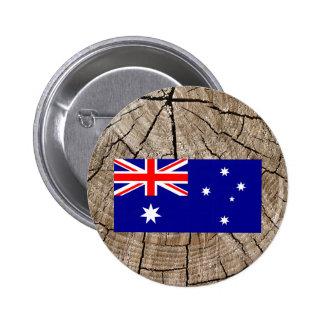 Australian flag on tree bark 6 cm round badge