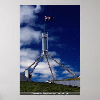 Australian flag, Parliament House, Canberra, Austr Poster