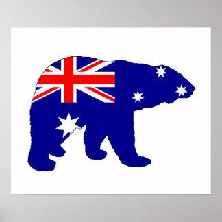 Australian Flag - Polar Bear Poster