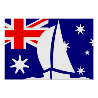 Australian Flag Sailing Yacht Nautical Posters