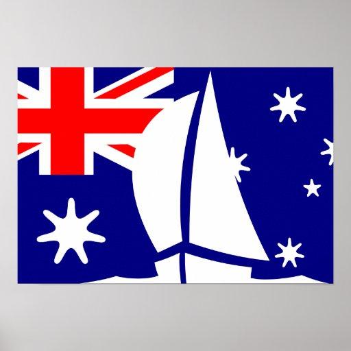 Australian Flag Sailing Yacht Nautical Posters