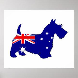 Australian Flag - Scottish Terrier Poster