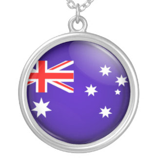 Australian flag silver plated necklace