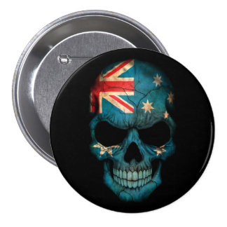 Australian Flag Skull on Black 7.5 Cm Round Badge