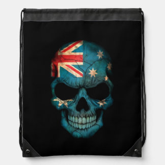 Australian Flag Skull on Black Drawstring Bag