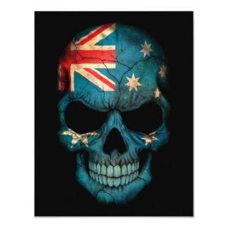 Australian Flag Skull on Black Invitations