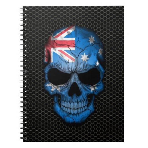 Australian Flag Skull on Steel Mesh Graphic Journal