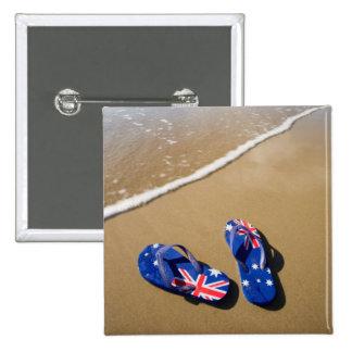 Australian Flag Thongs On Beach   South Wales 15 Cm Square Badge