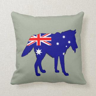 Australian Flag - Wolf Throw Pillow