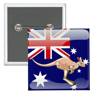 Australian glossy flag 15 cm square badge